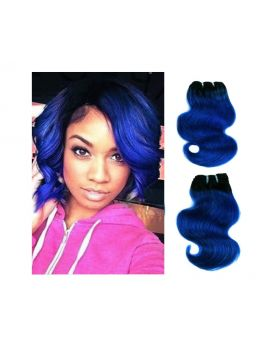 "8"" Human Hair extensions 4 Bundles Ombre Black to Blue Two Tone Brazilian Remy Hair Extensions Body Wave (8"", T1B/blue)"
