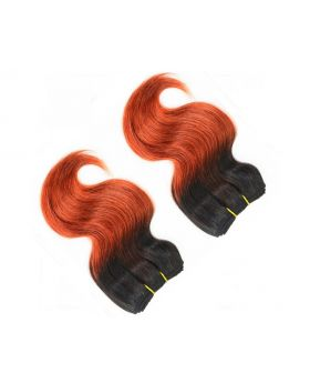 "8"" Human Hair extensions 4 Bundles Ombre Black to Orange Two Tone Brazilian Remy Hair Extensions Body Wave (8"", T1B/350)"