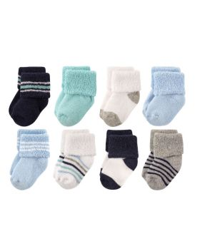 8 Pack Socks, Mint Navy Stripes 0-6 Months