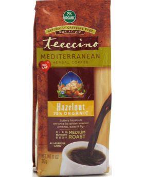Teeccino Caffeine-Free Herbal Coffee Alternative -Hazelnut 11oz 75% Organic -30 servings