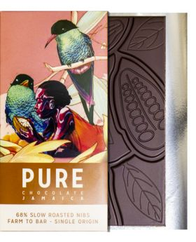 PURE 68% dark chocolate with slow roasted cocoa nibs 3.5 oz/100 grams each