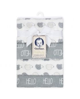 GERBER Organic 4-Pack Flannel Blanket, Grey Hedgehog