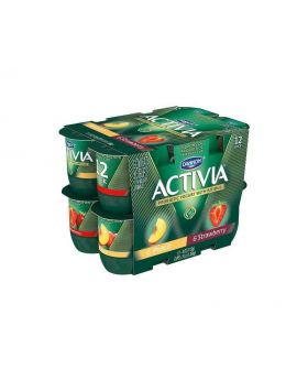 Activia Mixed Strawberry Peach Probiotic Yogurt, 12pk/4oz