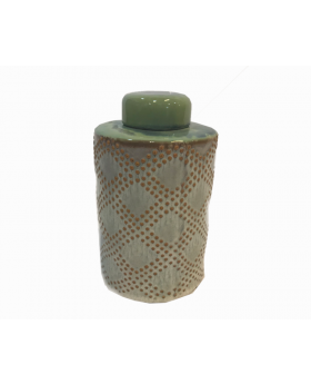 Adeline Lidded Decorative Vase in Green