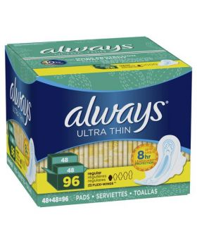 Always Ultra Thin Regular Pads With Wings 96 Count Pack