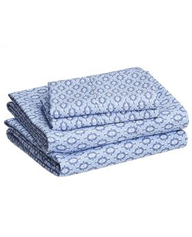 AmazonBasics Microfiber Blue Damask Sheet Set - King