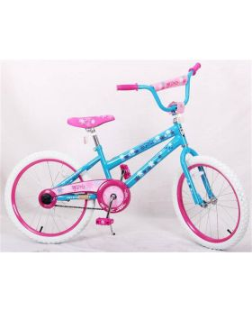 "Blue and pink American Blue 20"" Bicycle with white wheels"