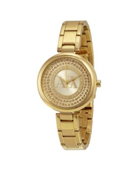 Armani Exchange Gold-Tone Crystal Dial Ladies Watch AX4221