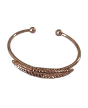 Melon Rose Gold Open Leaf Metal Bangle Bracelet Fashion Jewelry For Women