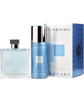 Azzaro Chrome Eau De Toilette Spray Vaporisateur 3.4 Fl. Oz. & 5.1 Fl. Oz. Travel Exclusive