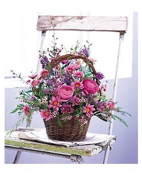 Basket of Spring Floral Arrangement