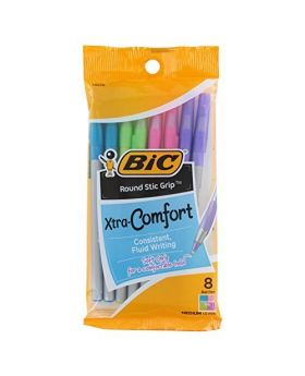 BIC Round Stic Grip Xtra Comfort 8 Count Assorted