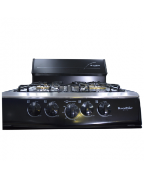 BlackPoint 20-Inch Black Steel Gas Stove close up of burner