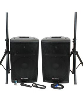 "BlastKing BDT15CMB2 1000 Watts 15"" Active and Passive Speaker Box System w/Mic and Stand"