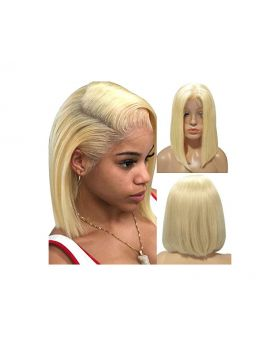 Blonde Bob Wigs Real Human Hair 613 Straight 13x4x1 T Lace Frontal Wig Short 8