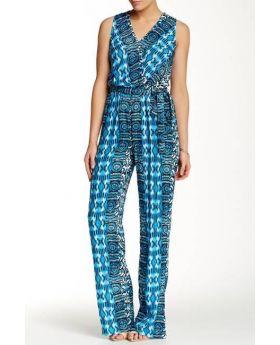 Blue Ivory Surplice Jumpsuit - Blue