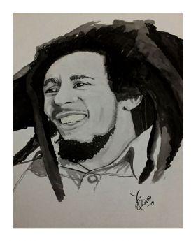 Bob Marley Ink Sketch (Loose Paper Print)