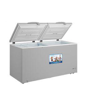 Blackpoint BP25FZ-LED 25 Cu. Ft. Grey Commercial Double Door Chest Freezer