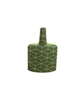 Bright green wide base narrow neck decorative vase