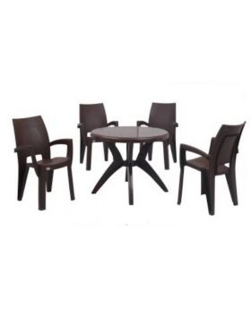ME-01 Dark Brown Marina Table and Esquire Chairs