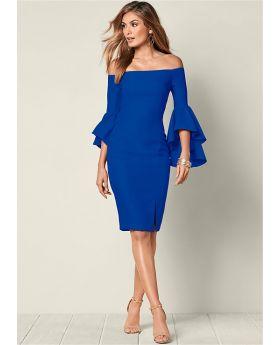 SLEEVE DETAIL DRESS BLUE SIZE 10