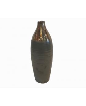 """Calin Large Matte Brown, Shimmer Bronze 17"""" Vase"""