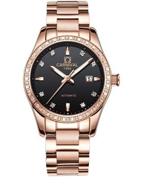 Carnival 1986 Women's Diamonds Sapphire Glass Rose Gold Watch