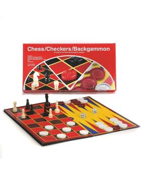 Chess/Checkers/Backgammon Double Sided Folding Game Board- Pressman