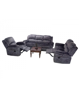 Roshley 3 Pieces Charcoal Reclining Sofa