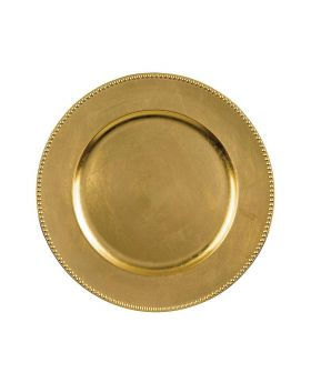Gold Beaded Decorative Charger Plate (Set of 4)