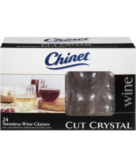 Chinet Plastic Cut Crystal Stemless Wine Cups 15 Oz. 24 Pack