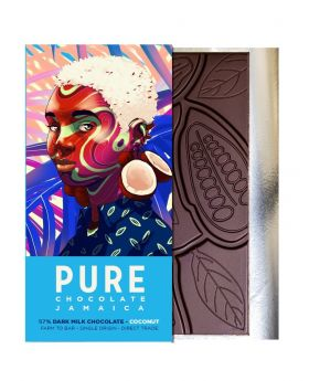 PURE 57% Dark Milk Chocolate with Coconut 1.76 oz/50 Grams Each