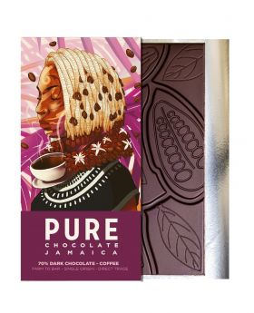 PURE 70% Dark Chocolate with Coffee 1.76 oz/50 Grams Each