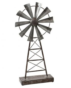Rustic Metal Windmill Table Top Sculpture