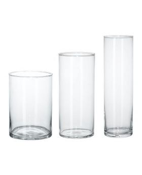 Cylinder Shape Glass Vase (Set of 3)