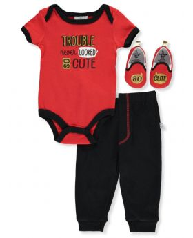 Duck Duck Goose Baby Boys' Trouble 3-Piece Layette Set