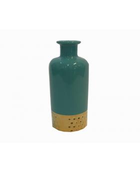 Decorative Turquoise Ceramic Vase with Gold