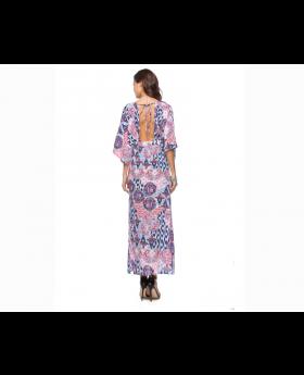 Deep V Neck National Printed Split Hem Maxi Dress Back View