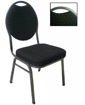 Double Padded Banquet Chair Silver Tube/Black