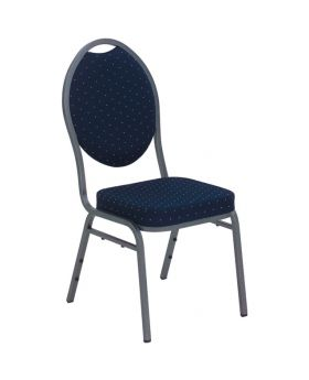 Double Padded Banquet Chair Silver Tube/Navy