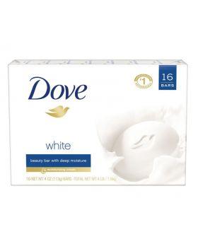 Dove White Beauty Bar Deep Moisturizing Cream Soap 16 Pack 4 Oz. Bars