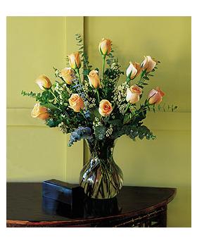 Dozen Pale Peach Roses Floral Arrangement