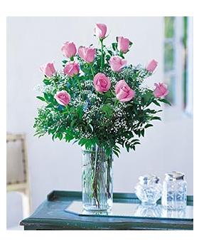 Dozen Pink Roses Floral Arrangement