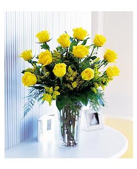 Dozen Yellow Roses Floral Arrangement
