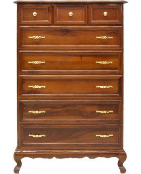 8 Drawer Spanish Elm Chest Dark Stained