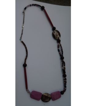 Lilibit Creation Necklace With Outstanding Pink/Purple Rectangular Beads, and Large Oval Stones – One of a Kind