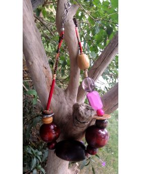 Lilibit Creation Necklace - Extra Large Beads, Wood in Sizes and Shapes, Bohemian Style