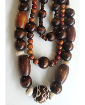 Lilibit Creation Necklace - Triple String, Wood in Sizes and Shapes, Bohemian Style
