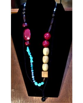 Lilibit Creation Necklace -  Polished Wood, Natural stones with glass beads - one of a kind design