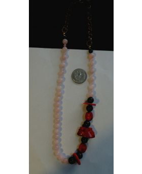 Lilibit Creation Necklace Rose Quartz Accented with Red Coral and Black Onyx - One of a Kind